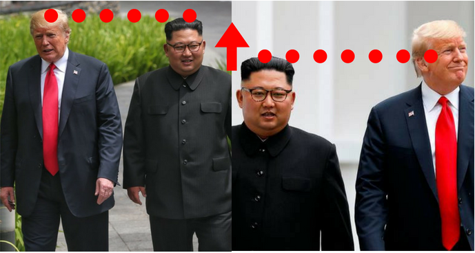 Kim supposedly became taller during Singapore summit